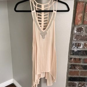 ANGL NWT beaded trim ladder back tank top